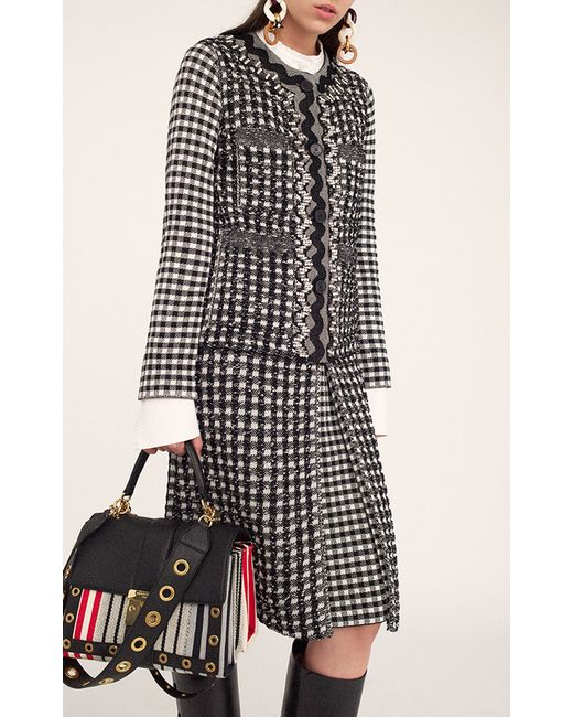 sonia rykiel vichy tweed long sleeve jacket in multicolor. Black Bedroom Furniture Sets. Home Design Ideas