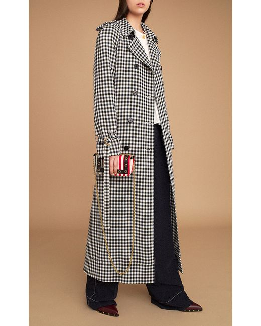 sonia rykiel plaid long trench coat in multicolor plaid. Black Bedroom Furniture Sets. Home Design Ideas