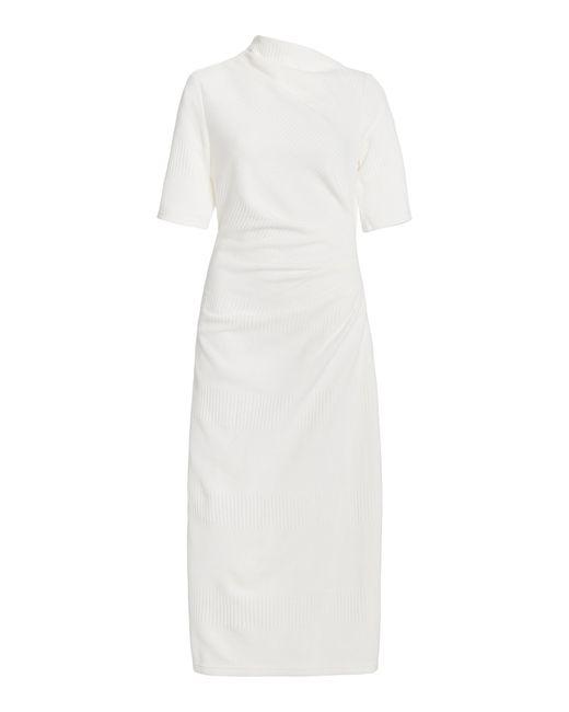 Acler White Parkfield Draped Crepe Midi Dress
