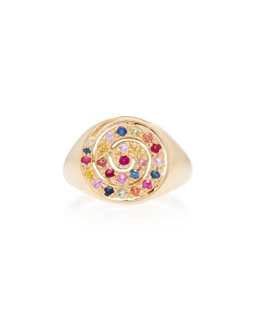 She Bee - Metallic 14k Yellow Gold And Sapphire Spiral Ring - Lyst