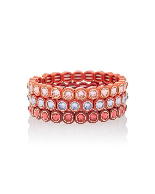 Roxanne Assoulin Red Mini Me Rose Bracelet Set Of Three