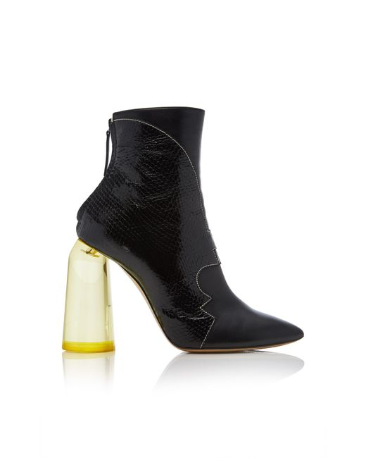 Ellery - Black High Heel Ankle Boot With Yellow Heel - Lyst