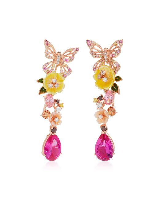 Anabela Chan - Pink M'o Exclusive: Rose Vine Earrings - Lyst