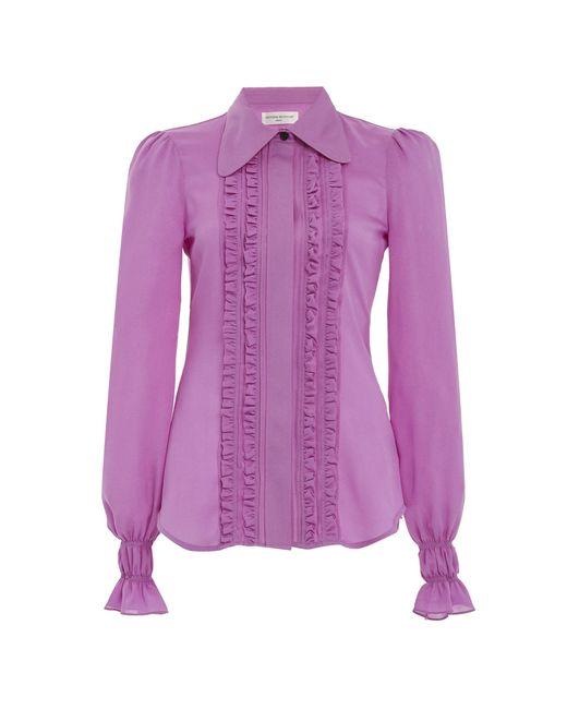 Victoria Beckham Purple Ruffled Silk Tuxedo Top