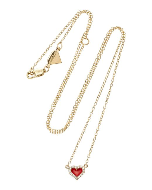 Alison Lou | Red 14k Gold Diamond Heart Necklace | Lyst