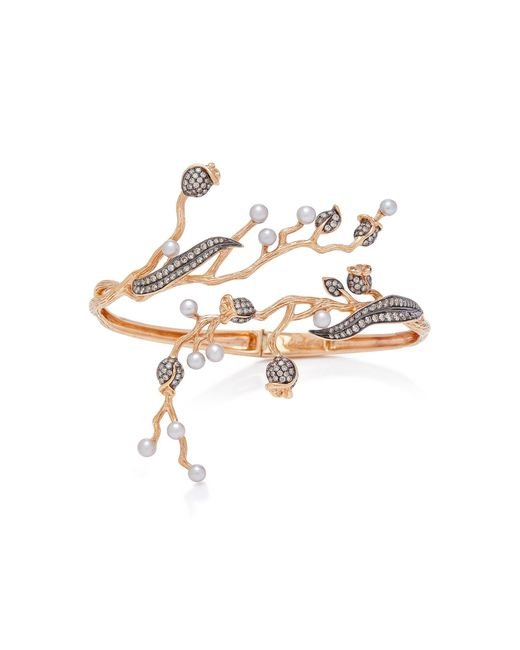 Colette - Pink Set-of-two 18k Rose Gold, Pearl And Diamond Cuff - Lyst