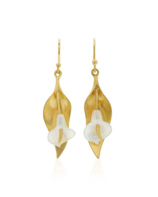 Annette Ferdinandsen   Metallic Cala Lily 18k Gold Mother Of Pearl Earrings   Lyst