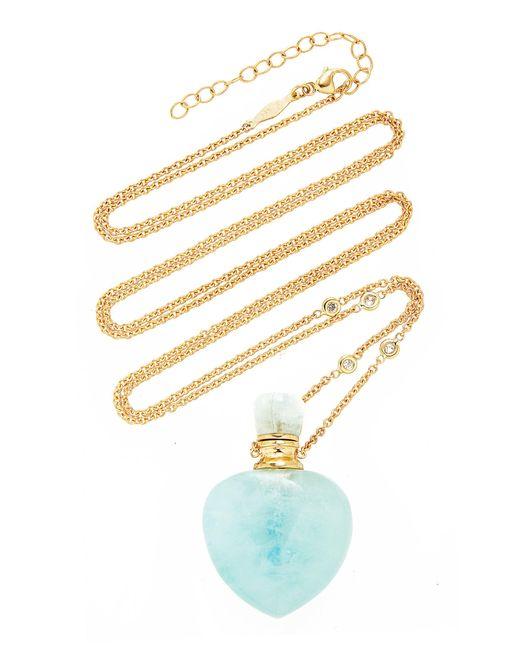 Jacquie Aiche Metallic Aquamarine Heart Potion Bottle Necklace