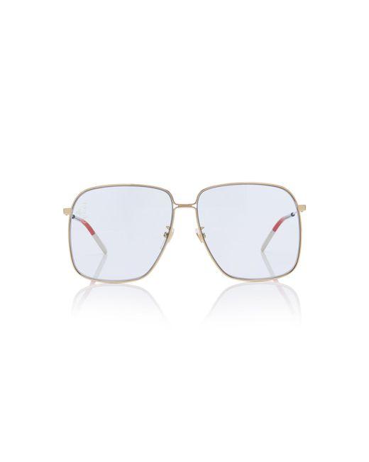 6d43067d022 Gucci - Blue Glasant Oversized Metal Square-frame Sunglasses - Lyst ...