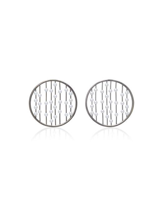 Fallon | Metallic Prodigiam Pearl Disc Hoop Earrings | Lyst