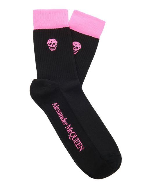 Alexander McQueen - Black Ribbed Cotton-blend Socks - Lyst