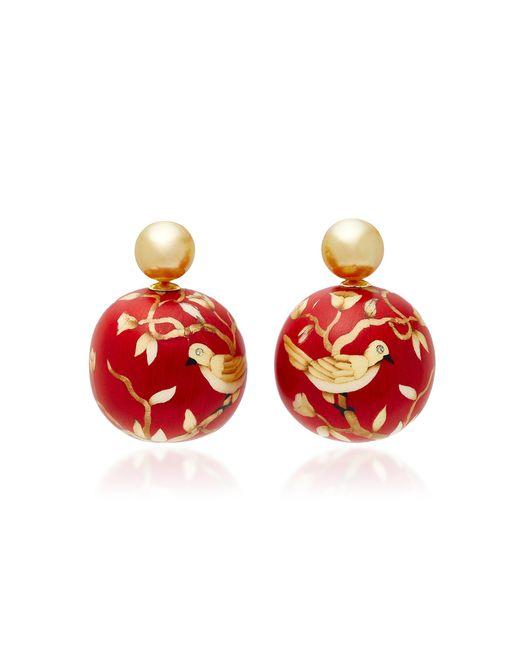 Silvia Furmanovich - Red Marquetry Bird Ball Drop Earrrigs - Lyst