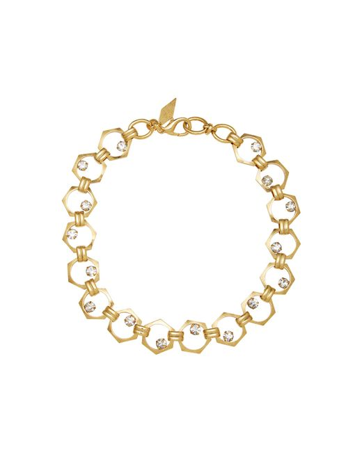 Nicole Romano   Metallic 18k Gold-plated Bolt Crystal Necklace   Lyst
