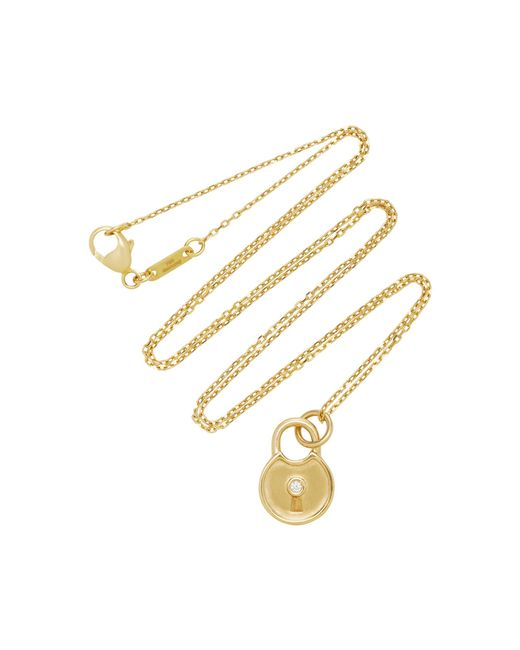 Monica Rich Kosann - Metallic 18k Gold Diamond Round Lock Charm Necklace - Lyst