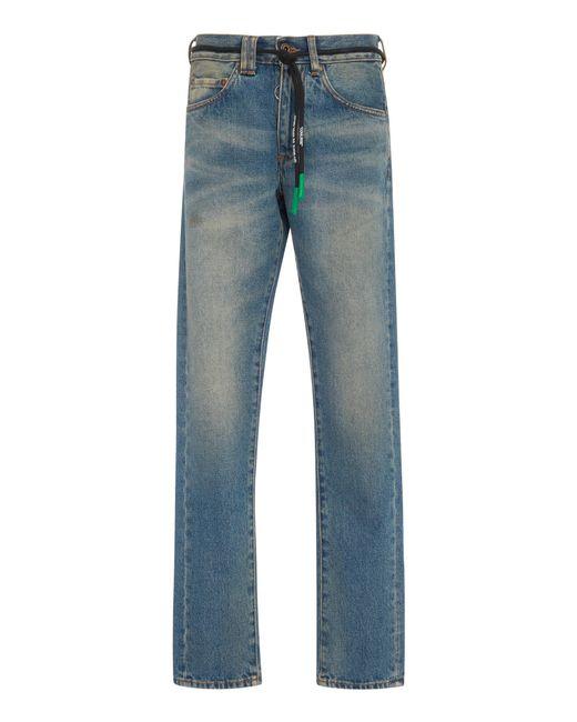 Off-White c/o Virgil Abloh - Blue Distressed Slim-fit Jeans for Men - Lyst