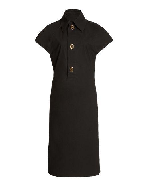 Bottega Veneta Brown Button-detailed Cotton-blend Midi Shirt Dress