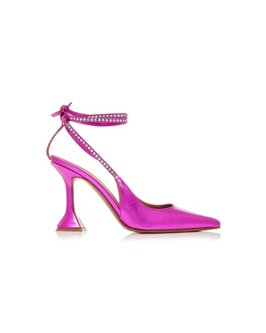 AMINA MUADDI Pink Karma Crystal-embellished Leather Pumps