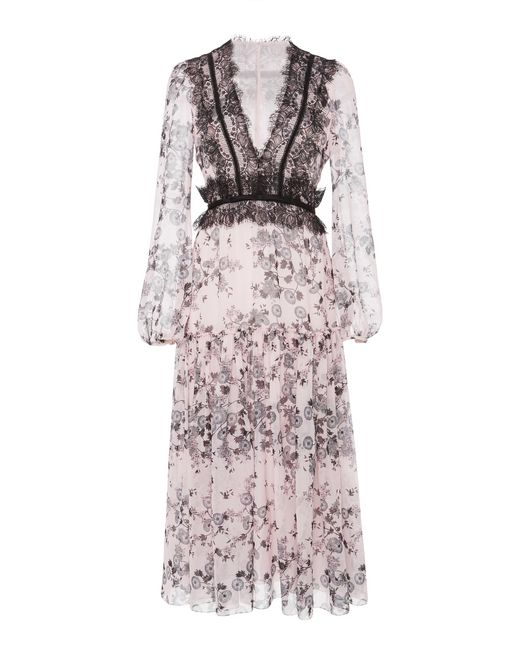 Giambattista Valli - Multicolor Floral Printed Midi Dress - Lyst