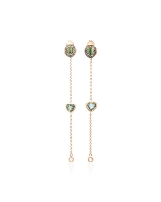 Daniela Villegas | Green Amour 18k Pink Gold, Sapphire, Diamonds And Tsavorite Earrings | Lyst