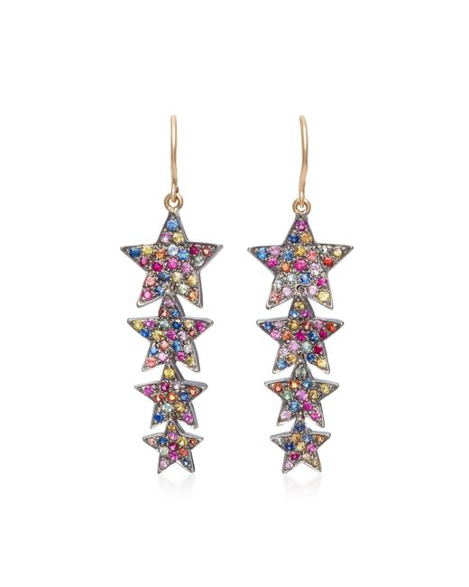 She Bee - Pink Rhodium-plated Sapphire Star Drop Earrings - Lyst