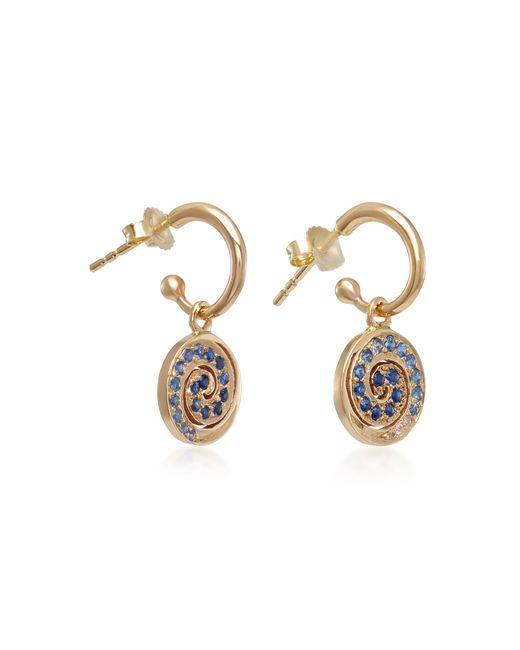 She Bee Blue 14k Gold Sapphire Spiral Hoop Earrings