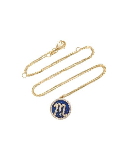 Names by Noush - Blue Treasure Disk Roman Initial Necklace With Lapis Lazuli Gemstone - Lyst