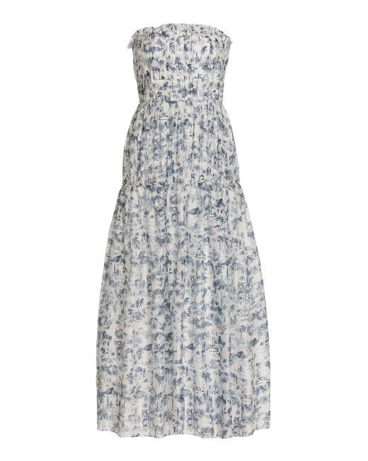 Sir. The Label Multicolor Dimitri Printed Cotton-silk Strapless Maxi Dress