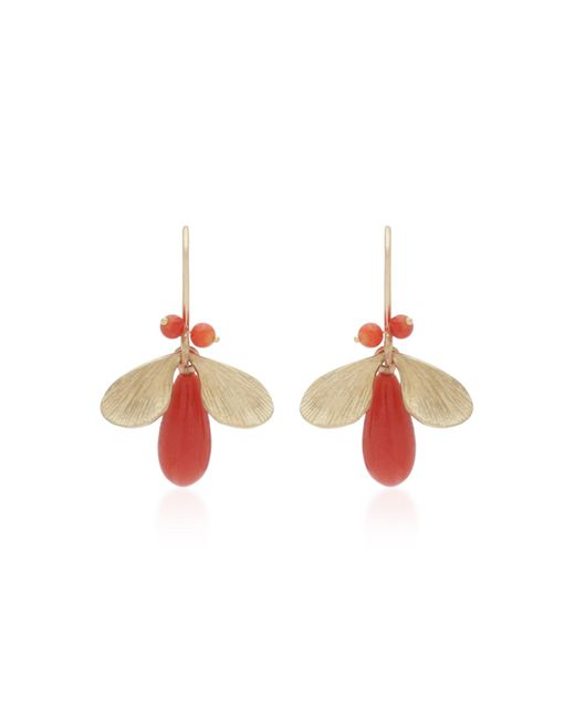 Annette Ferdinandsen - Pink Jeweled Bugs 14k Gold And Coral Drop Earrings - Lyst