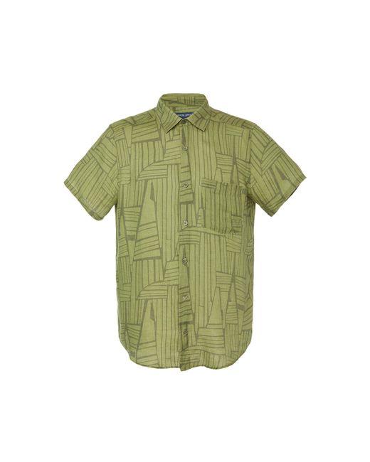 Frescobol Carioca Green Printed Linen Button-up Shirt for men