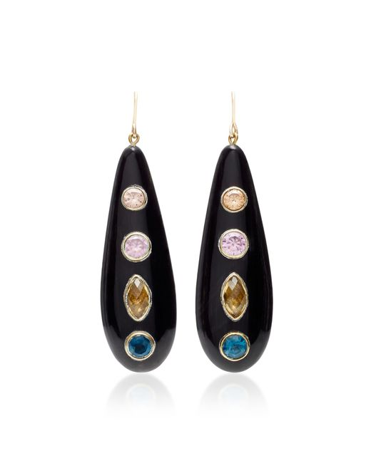 Ashley Pittman - Brown Upendo Whiskey Quartz, Pink Amethyst, Blue Spinel, And Orange Zircon Earrings - Lyst
