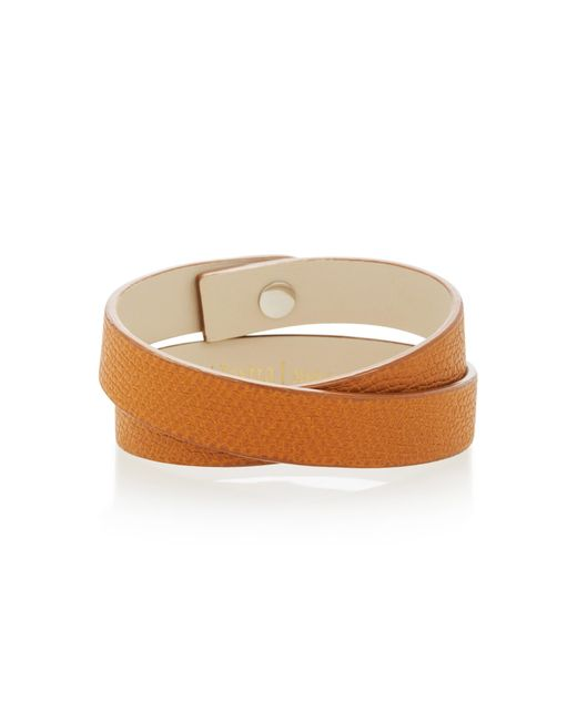 Valextra - Brown Double Wrap Leather Bracelet - Lyst