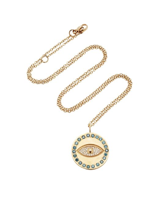 Misahara - Metallic Evil Eye Charm 18k Rose Gold Diamond Necklace - Lyst