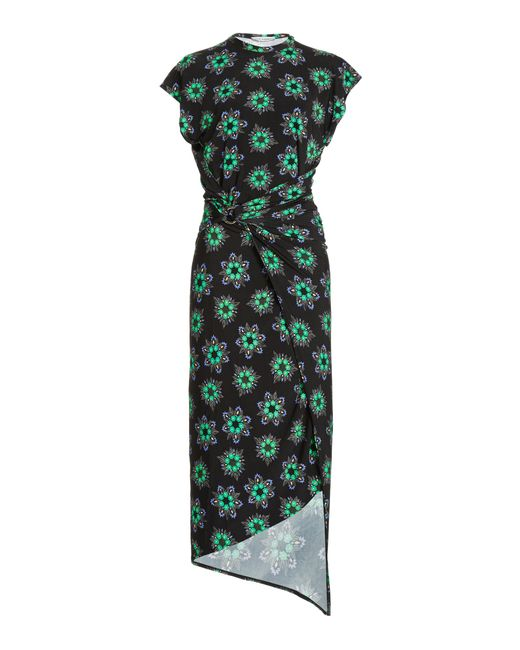 Paco Rabanne Green Ring-detailed Draped Floral Stretch-jersey Midi Dress