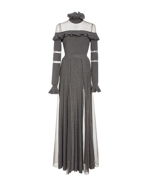 Elie Saab | Metallic Ruffled Long Sleeve Knit Dress | Lyst