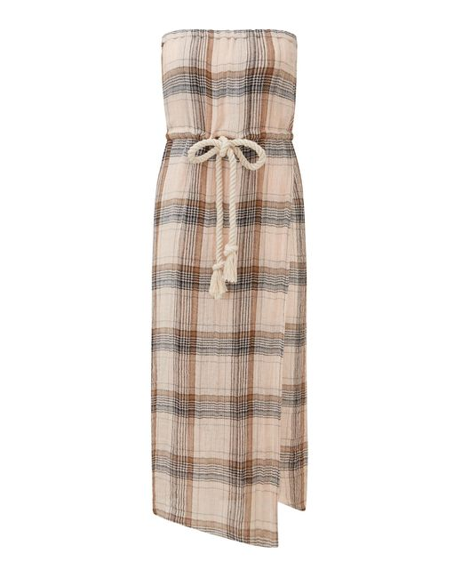Lisa Marie Fernandez Natural Victor Strapless Linen-blend Midi Dress