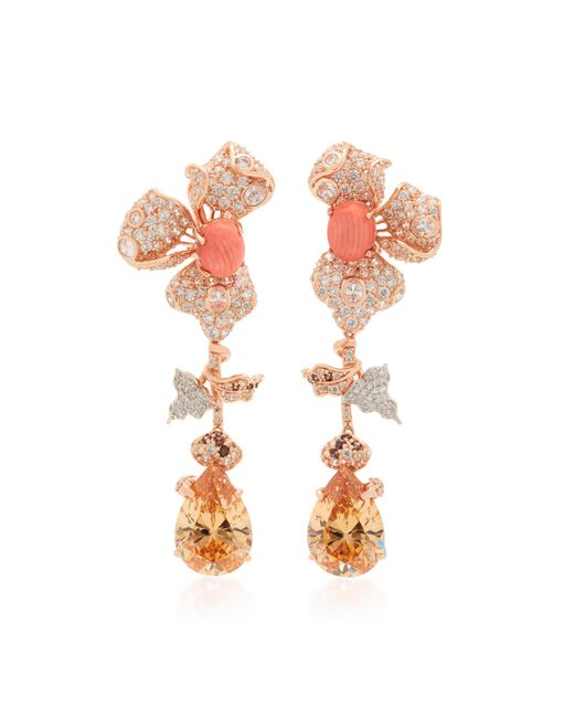Anabela Chan - Pink 18k Rose Gold Orchid Citrine And Diamond Earrings - Lyst