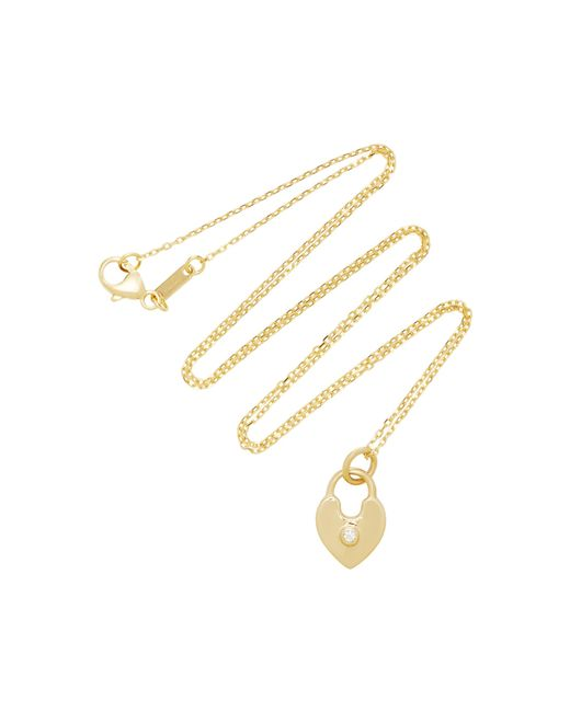 Monica Rich Kosann - Metallic 18k Gold Diamond Heart Lock Charm Necklace - Lyst