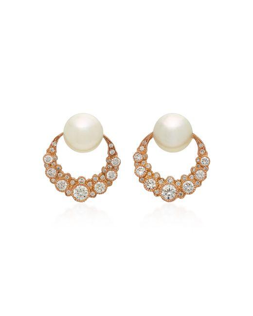 Colette | Pink Baby Moon 18k Rose Gold, Diamond And Pearl Earrings | Lyst