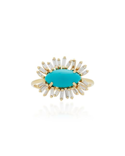 Suzanne Kalan - Blue 18k Gold, Diamond And Turquoise Ring - Lyst