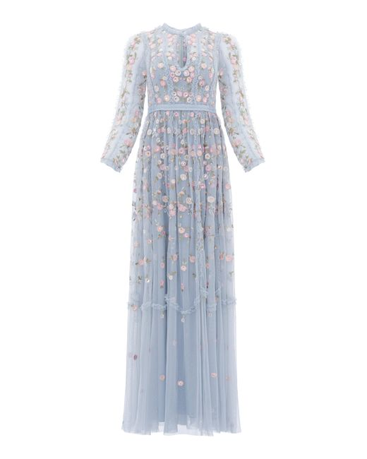 Needle & Thread Blue Wallflower Embroidered Tulle Maxi Dress