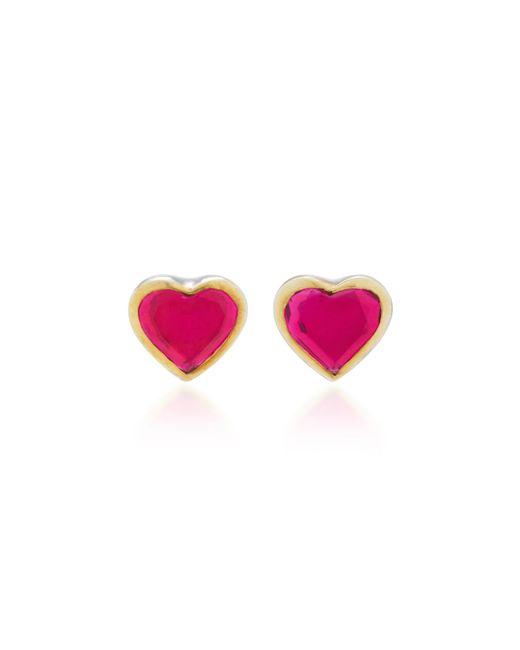 She Bee | Pink 14k Gold Topaz Heart Earrings | Lyst