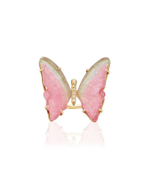 Jacquie Aiche - Medium Pink Tourmaline Butterfly Ring - Lyst