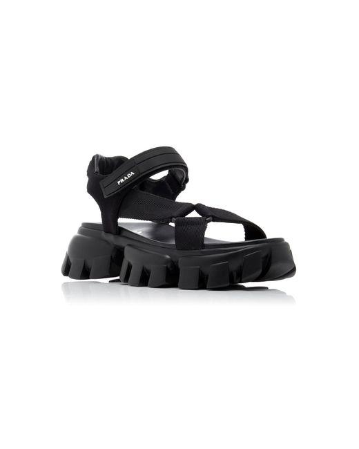 black rubber platform sandals