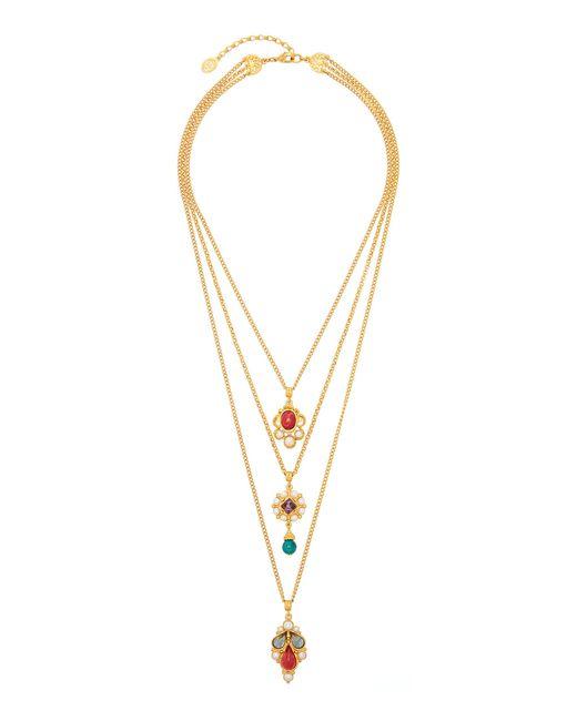 Ben-Amun Metallic Layered 24k Gold-plated Multi-stone Necklace