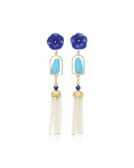 Of Rare Origin | Blue Swingers 18k Yellow Gold Vermeil, Lapis, Turquoise And Pearl Earrings | Lyst