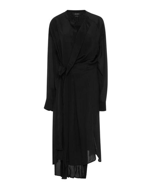 Isabel Marant | Black Iam Wrap-effect Asymmetric Silk Dress | Lyst