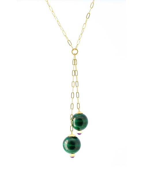Haute Victoire Green 18k Gold, Malachite And Amethyst Necklace