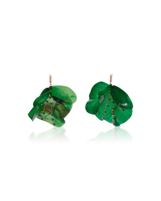 Marni | Green Horn Petal And Strass Earrings | Lyst
