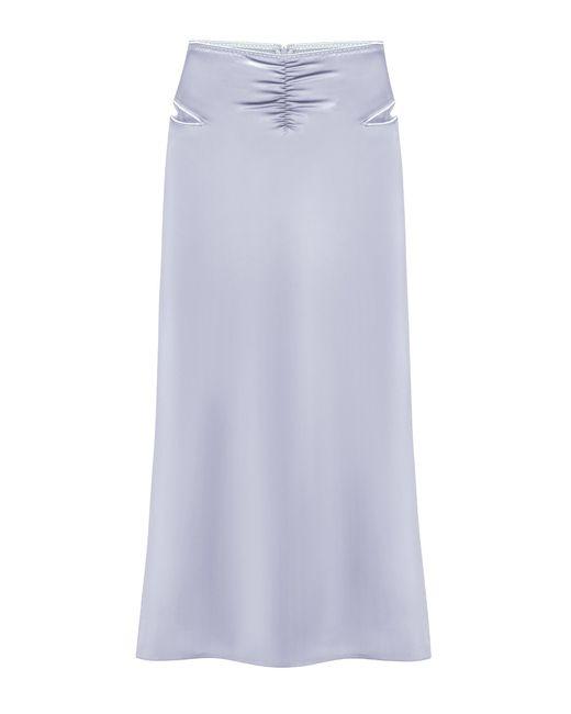 Anna October Blue Lucy Cutout Satin Midi Skirt
