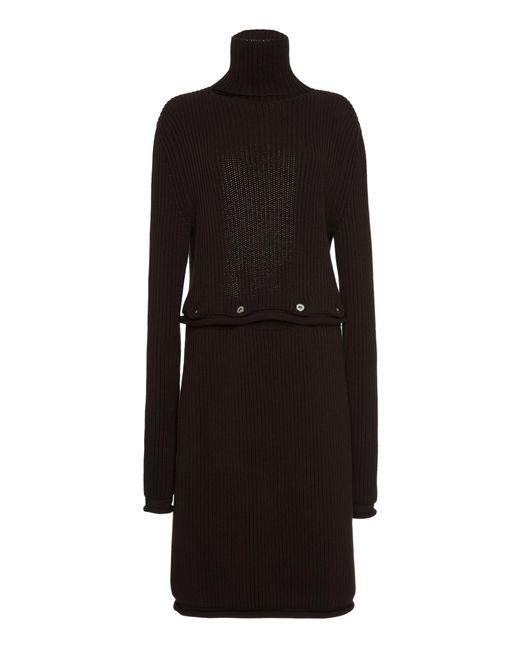 Bottega Veneta Brown Backless Ribbed Cotton Midi Dress